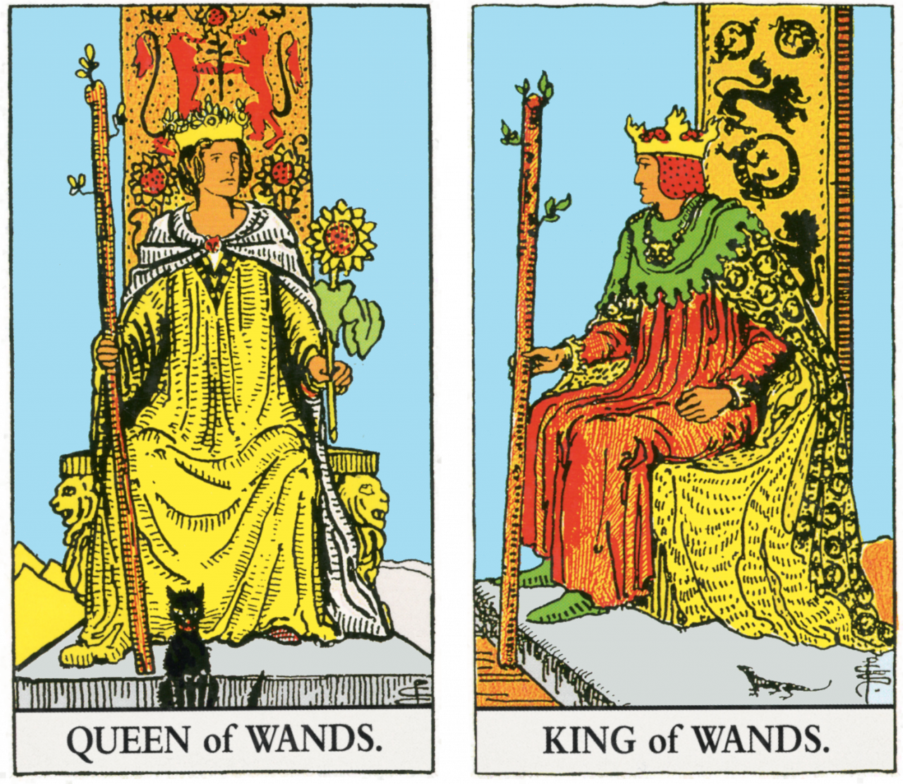 Queen and King of Wands