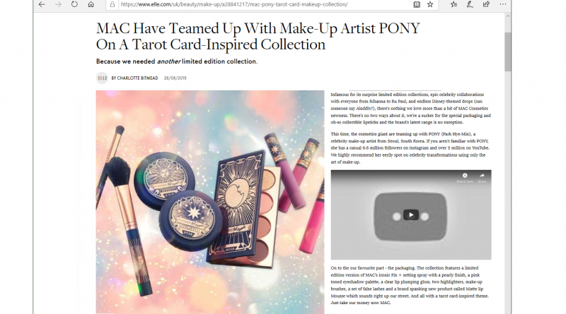 Elle Magazine on MAC with Tarot Packaging