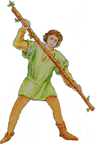 Seven of Wands isolated figure