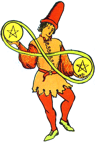 Two of Pentacles isolated figure