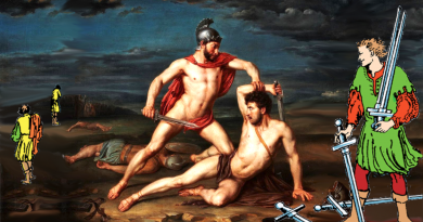 collage Five of Swords Achilles and Hector by Rafael Tegeo