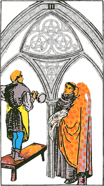 Three of Pentacles Isolated Figures with Arch