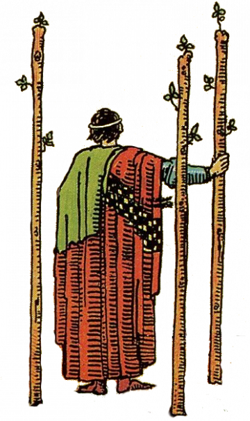 Three of Wands isolated figure