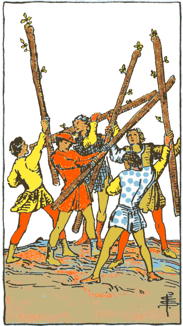 Five of Wands isolated figures