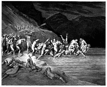 Gustave Doré - Dante Inferno - Charon herds the sinners onto his boat