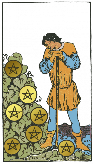 Seven of Pentacles isolated figure