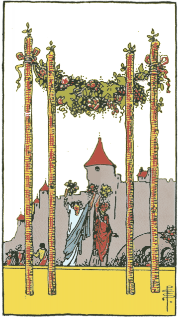 Four of Wands isolated figures
