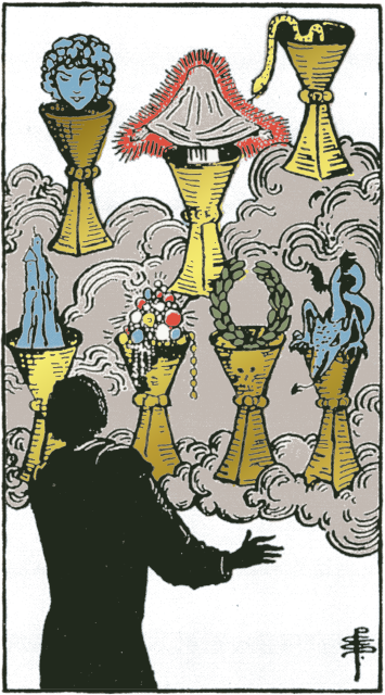 Seven of Cups isolated figures