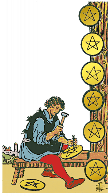 Eight of Pentacles isolated figure