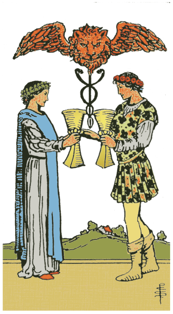 Two of Cups isolated figures